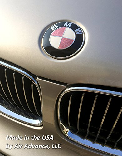 Breast Cancer Awareness fits BMW - Gloss Pink with Sparkles Vinyl Emblem Covers and Ribbon Decals - Fits Almost All BMWs - by Air -