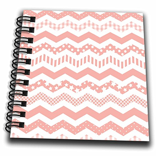 3dRose db_183973_3 Coral Chevron Zigzag Pattern with A Twist Cute Patterned Zig Zags Mini Notepad, 4