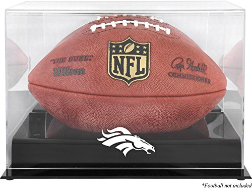 Denver Broncos Team Logo Football Display Case | Details: Black Base, Mirror Back