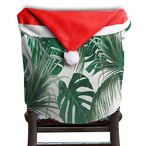 (LoveBea Santa Hat Chair Covers Tropical Palm Tree Leaves Jungle Leaf Chairs Back Cover Slipcovers Kitchen Sets for Costume Decorations)