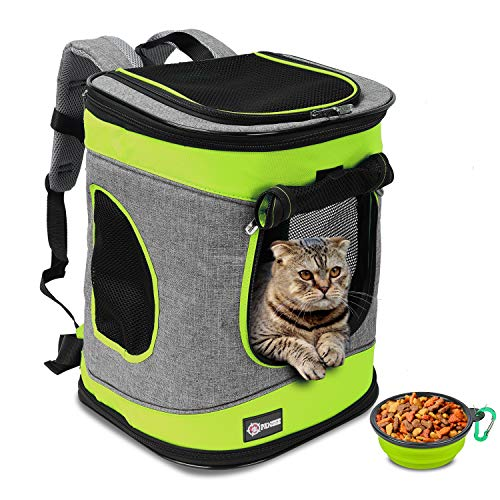 Tirrinia Pet Carrier Backpack for Cats and Dogs up to 15 LBS Airline-Approved Travel Carrier for Pets Hiking, Walking, Cycling & Outdoor Use 16″ H x13.2 L x12 Green