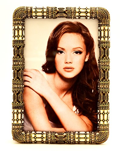 Ciel Collectables Vintage Ivanna Picture Frame with Hand Set Clear Swarovski Crystal, Antique Brass Plating Over Solid Pewter Base, Brown Color Stylish Silk Back Have Two Way Easel, Holds 4 ()