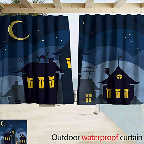 Rod Pocket Blackout Curtain Panels Halloween Cartoon Town with Cat Room Darkening, Noise Reducing W63x63L Inches -