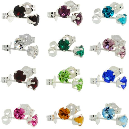 Sterling Silver Multi Color Stone - 12 pair Set Multi Color Sterling Silver Birthstone Stud Earrings with 12 Colors Swarovski Crystals 4 mm