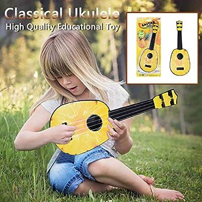 FunDiscount Classic Ukulele, 15 Inch Professional Wooden Ukelele Instrument Cute Love Music Toys Small Hawaiian Musical Guitar Wood Starter Uke Hawaii Kids Guitar for Beginners Students (Pineapple)