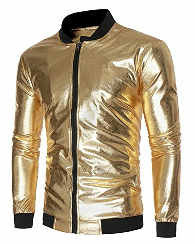 [CIC Collection Men's Shiny Metallic Nightclub Zip Up Varsity Baseball Bomber Jacket] (Borg Halloween Costumes)
