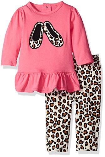 Cotton Leopard Legging Set (BON BEBE Baby Girls' 2 Piece Dress and Legging Set, Leopard Shoes, 0-3 Months)