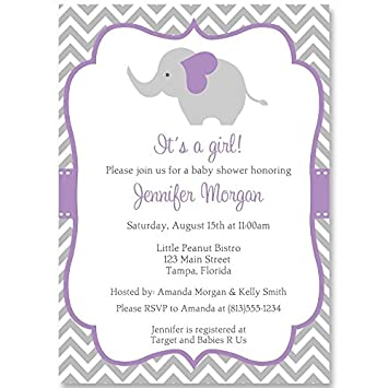 Amazon elephant baby shower invitations chevron stripes elephant baby shower invitations chevron stripes girls purple grey gray filmwisefo