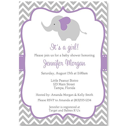 - Elephant Baby Shower Invitations, Chevron, Stripes, Girls, Purple, Grey, Gray, It's a Girl, Little Peanut, Personalized, Set of 10 Printed Invites with Envelopes, Chevron Elephant