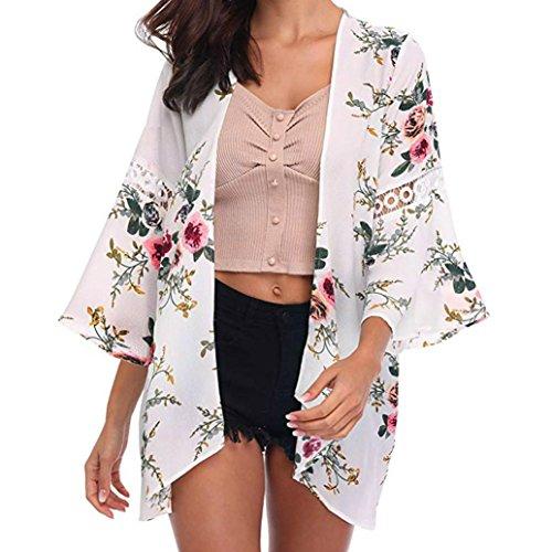 Floral Silk Coat (Syban Women Lace Floral Open Cape Casual Coat Loose Blouse kimono Jacket Cardigan(Medium,Y1-White))
