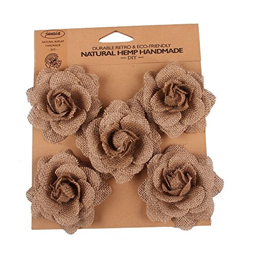 Junxia DIY Natural Hessian Burlap Rose Flowers for Any Craft, Gift, Home or Rustic Wedding Decoration(5pcs) (Brown) -