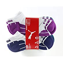 Puma Women's Low Cut Sport Socks - Pack of 6 Pairs (White and Purple/Teal/Magenta)