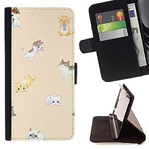 - Queen Pattern FOR Apple Iphone 4 / 4S /La identificaci????n del cr????dito ranuras para tarjetas tir????n de la caja Cartera de cuero cubie - cute kittens peach cat yellow kids
