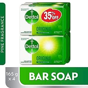 Dettol Original Anti-Bacterial Bar Soap 165g Pack Of 4 at 35% Off