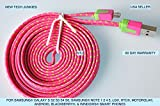 NTJ 1m (3ft) Flat Woven Charging Data Sync Cable (hot pink)