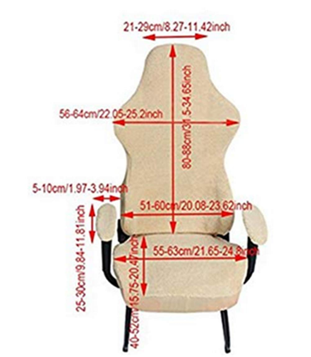 Zerci Universal Computer Chair Cover Game Racing Chair Slipcover Washable Chair Protect Cover (Beige) by Zerci (Image #2)