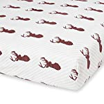 5-Piece-Baby-Boy-Crib-Set-100-Cotton-Crib-Sheet-Quilted-Blanket-Bumper-Crib-Skirt-Crib-Rail-Covers-DeerRedLumberjack-Polyester-Material-to-Help-with-Spills-and-Hold-up-against-use-WalkerRun