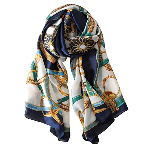 Alice Women Classy Silk Chain Print Long Scarf Shawls Wraps Navy (Print Long Scarf)
