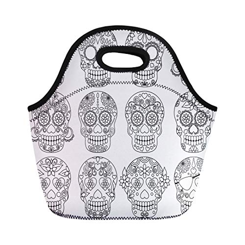 Semtomn Lunch Bags Flower Day Collection of Skulls Sugar Dead All Body Neoprene Lunch Bag Lunchbox Tote Bag Portable Picnic Bag Cooler Bag]()