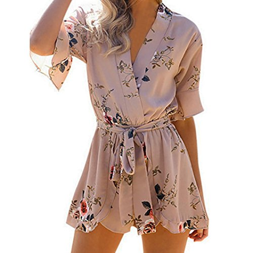 Belted Bootie - vermers Hot Sale Womens Chiffon Jumpsuit and Rompers Casual Print Belt Bodysuit Party Clubwear Playsuit(M, Khaki)