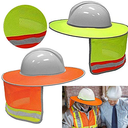 - QINGD's Construction Safety Hard Hat Neck Shield Helmet Sun Shade Reflective Stripe Kit (Yellow,One Size)