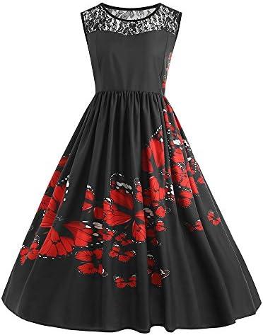 Vrouwen vintage jurk retro knielange jurken vrouwen plus grote kanten print avondjurk pakken 1950 elegante kanten jurk ronde hals knielange feestelijke cocktailjurk partyjurk