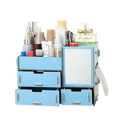 0f5004d6284c B&S FEEL Fashion DIY Wooden Makeup Storage Display Box 3 Drawers Jewelry  Cosmetics Storage Organizer with Mirror