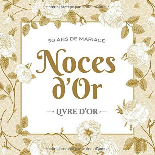 Golden 50th Anniversaire De Mariage Personnalisé Livre d/'or