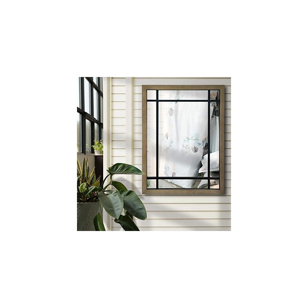 ironsmithn Wall Mirror Farmhouse Rectangular Window Mounted Decorative Long Hanging Wood Decoration for Bathroom Vanity…