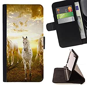 Clouds Horses Nature Sunset Mustang - Painting Art Smile Face Style Design PU Leather Flip Stand Case Cover FOR Sony Xperia M2 @ The Smurfs