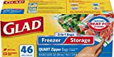 Glad Food Storage Bags, 2 in 1 Zipper, Quart, 46 Count (Pack of 3)