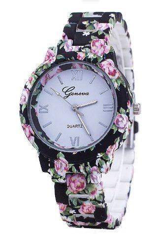 Popeye The Sailor Man Costume Pattern (Flowers Pattern Quartz Fashion Casual Wrist Watch Black)