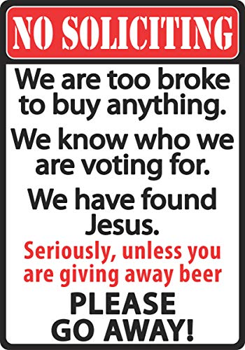 River's Edge Products No Soliciting Tin Sign ()
