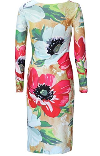 Round Printing Sleeved Chinese Coolred Style Neck Dresses Long Women 1 twtfqST