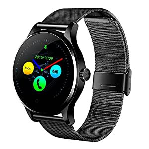 GBlife K88H Bluetooth Smart Watch Fitness Tracker with Heart Rate monitor for iOS and Android (Black + Stainless Steel Band)