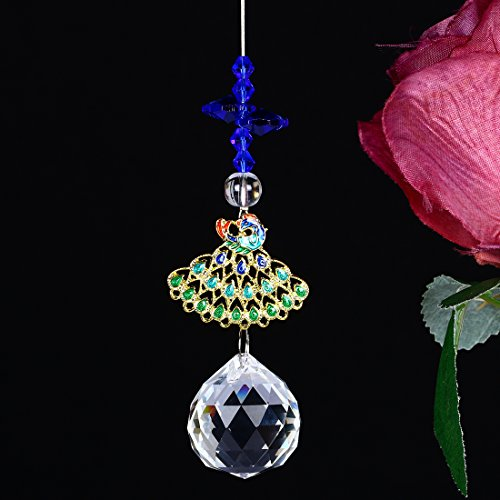 H&D Crystal Suncatcher Hanging Ornaments Peacock Chandelier Ball Prism Fengshui Rainbow Maker Window Pendant ()