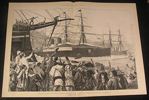 Orient Steamship Scots Guards Suez Canal Egypt 1882 Antique Wood Engraved Print