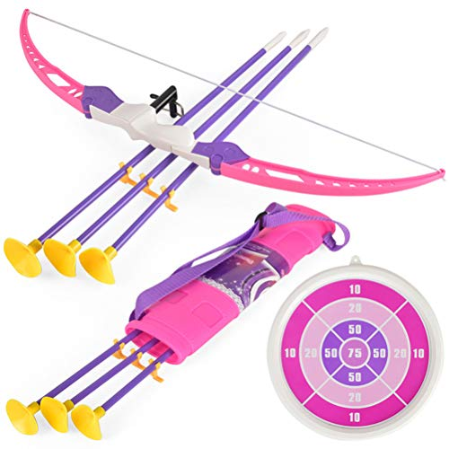 NUOBESTY 7pcs Archery Set Kids Bow and Arrow Play Toy Outdoor Hunting Game with Suction Cup Arrows (Pink)