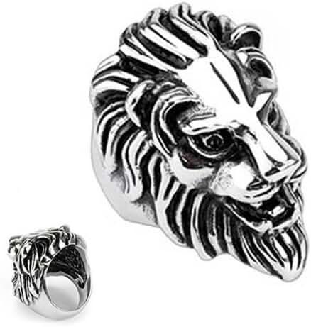 Stainless Steel Lion Head Wide Cast Biker Ring – Crazy2Shop