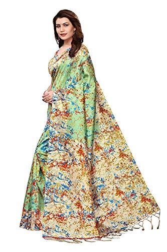 shreeoverseas Women's Mysore Silk Saree Indian Ethnic Wedding Traditional Wear Multi-Coloured Sari with Blouse Piece Blue