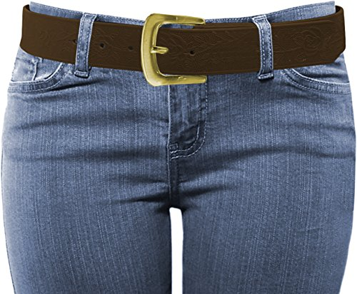 LUNA Women's Thick Rose Embossed Stitched Buckle Belt - Antique Gold - Brown - Small/Medium
