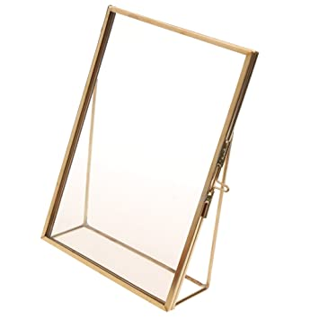 Amazoncom Fenteer Antique Gold Brass Glass Photo Picture Frame