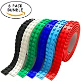 Lego Tape with Adhesive Backing - 6 Great Colors, 1 Meter Each, 2 Studs for Building with Brick and Blocks