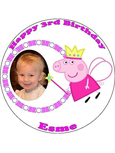 7,5 Peppa Pig princesa con su foto comestible Sunluxy tarta ...