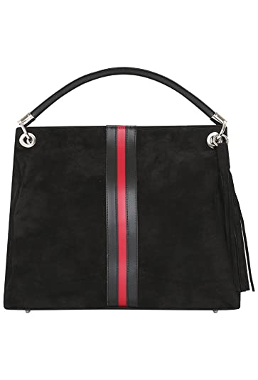 3457ab74fe06 Gucci Inspired Women's Made in Italy Genuine Suede Leather Top Handle  Shoulder Bag - Black: Amazon.co.uk: Shoes & Bags