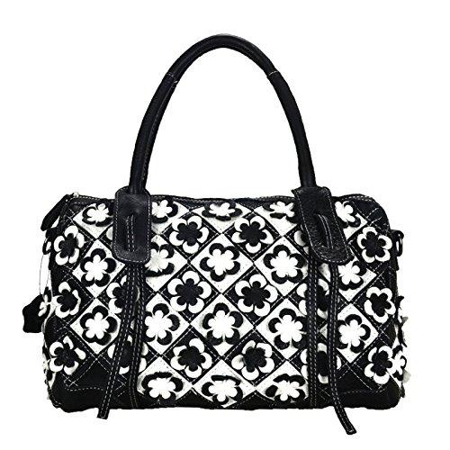 Flower Satchel Handbags (Sibalasi--Unique Women's Colorful Genuine Leather Shouder Bag Tote Multicolor Flower Boston Bag Black & White Satchel Big Handbag (Black white))