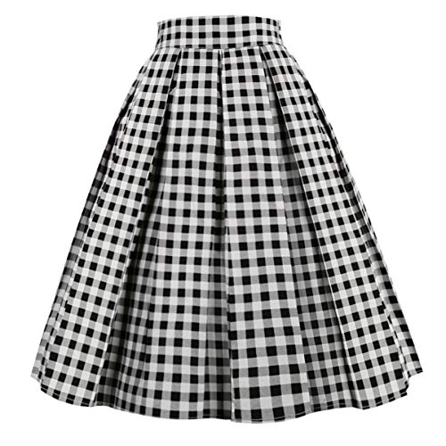 Girstunm Women's Pleated Vintage Skirt Floral Print A-line Midi Skirts with Pockets Black-White Plaid -
