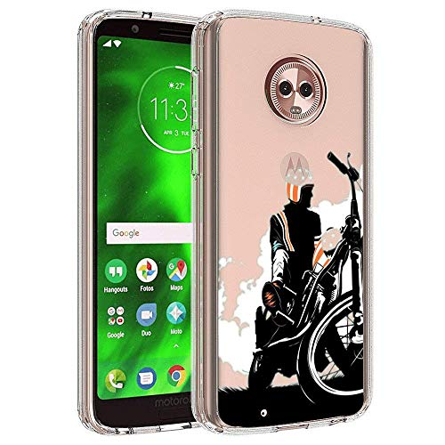 Design Case for Moto G6,Merciey Clear Crystal Cool Motorcyclist Personalized Customization Pattern Protective Cover, Moto G6 Case ()