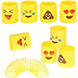 Totem World 24 Assorted Miniature Emoji Coil Spring Slinky - Multiple Faces - Perfect Size Kids - Bright Colors Durable Designs - Awesome As Birthday Party Favors, Piñata Fillers Stocking Stuffers