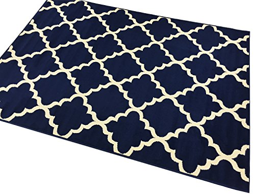 "Trellis Area Rug Rugs Contemporary Modern Lattice Design Area Rug Rugs 5 Color Options Available (Navy Blue, 7'10"" x 9'10"")"